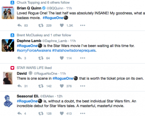 twitter reactions to rogue one